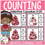 Counting Picture Clip Cards 0-20: Valentine Cupcakes ~Digital Download~