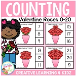 Counting Picture Clip Cards 0-20: Valentine Roses ~Digital Download~