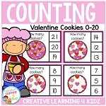 Counting Picture Clip Cards 0-20: Valentine's Day Cookies ~Digital Download~
