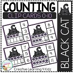Counting Ten Frame Clip Cards 0-10: Halloween Black Cat ~Digital Download~