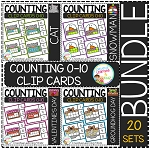 Counting Ten Frame Clip Cards 0-10: Bundle 1 ~Digital Download~