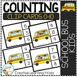 Counting Ten Frame Clip Cards 0-10: School Bus Kids ~Digital Download~