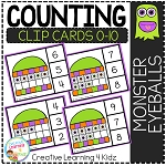 Counting Ten Frame Clip Cards 0-10: Monster Eyeballs Halloween ~Digital Download~