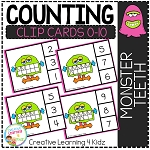 Counting Ten Frame Clip Cards 0-10: Monster Teeth Halloween ~Digital Download~