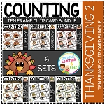 Counting Ten Frame Clip Cards 0-10: Thanksgiving 2 ~Digital Download~