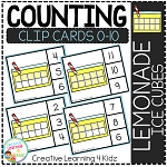 Counting Ten Frame Clip Cards 0-10: Lemonade Ice Cube ~Digital Download~