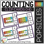 Counting Ten Frame Clip Cards 0-10: Popsicle ~Digital Download~