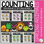 Counting Ten Frame Clip Cards 0-10: Animals Bundle ~Digital Download~