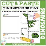 Cut and Paste Fine Motor Skills Puzzle Worksheets: Dinosaurs ~Digital Download~