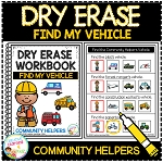 Dry Erase Community Helper Workbook: Find My Vehicle ~Digital Download~