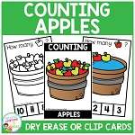 Dry Erase Counting Book/Cards or Clip Cards: Fall Apples ~Digital Download~
