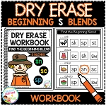 Dry Erase Beginning Blends Workbook: S Blends ~Digital Download~