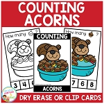 Dry Erase Counting Book/Cards or Clip Cards: Fall Acorns ~Digital Download~