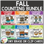 Dry Erase Counting Book/Cards or Clip Cards: FALL Bundle ~Digital Download~