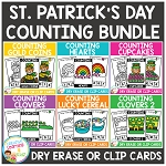Dry Erase Counting Book/Cards or Clip Cards: ST. PATRICK'S DAY Bundle ~Digital Download~
