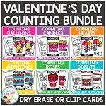Dry Erase Counting Book/Cards or Clip Cards: VALENTINE'S DAY Bundle ~Digital Download~