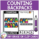 Dry Erase Counting Book/Cards or Clip Cards: Backpacks - Back to School ~Digital Download~