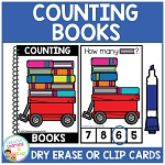 Dry Erase Counting Book/Cards or Clip Cards: Books - Back to School ~Digital Download~