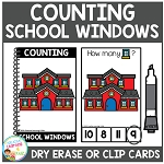 Dry Erase Counting Book/Cards or Clip Cards: School Windows - Back to School ~Digital Download~