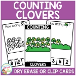 Dry Erase Counting Book/Cards or Clip Cards: St. Patrick's Day Clovers ~Digital Download~