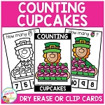 Dry Erase Counting Book/Cards or Clip Cards: St. Patrick's Day Cupcakes ~Digital Download~