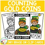 Dry Erase Counting Book/Cards or Clip Cards: St. Patrick's Day Gold Coins ~Digital Download~