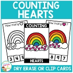 Dry Erase Counting Book/Cards or Clip Cards: St. Patrick's Day Hearts ~Digital Download~