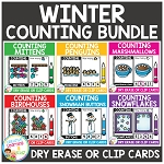 Dry Erase Counting Book/Cards or Clip Cards: Winter Bundle ~Digital Download~