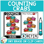 Dry Erase Counting Book/Cards or Clip Cards: Crabs - Summer ~Digital Download~