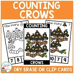 Dry Erase Counting Book/Cards or Clip Cards: Fall Crows ~Digital Download~