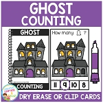 Dry Erase Counting Book/Cards or Clip Cards: Halloween Ghost ~Digital Download~
