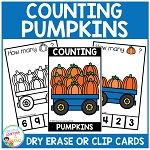 Dry Erase Counting Book/Cards or Clip Cards: Fall Pumpkins ~Digital Download~