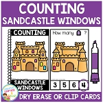 Dry Erase Counting Book/Cards or Clip Cards: Sandcastle Windows - Summer ~Digital Download~