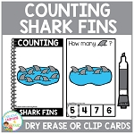 Dry Erase Counting Book/Cards or Clip Cards: Shark Fins - Summer ~Digital Download~