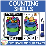 Dry Erase Counting Book/Cards or Clip Cards: Shells - Summer ~Digital Download~