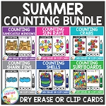 Dry Erase Counting Book/Cards or Clip Cards: Summer Bundle ~Digital Download~