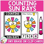 Dry Erase Counting Book/Cards or Clip Cards: Sun Rays - Summer ~Digital Download~