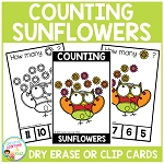 Dry Erase Counting Book/Cards or Clip Cards: Fall Sunflowers ~Digital Download~