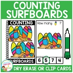 Dry Erase Counting Book/Cards or Clip Cards: Surfboards - Summer ~Digital Download~