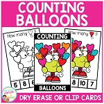 Dry Erase Counting Book/Cards or Clip Cards: Valentine's Day Balloons ~Digital Download~