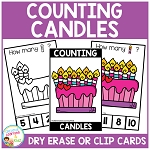Dry Erase Counting Book/Cards or Clip Cards: Valentine's Day Candles ~Digital Download~