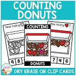 Dry Erase Counting Book/Cards or Clip Cards: Valentine's Day Donuts ~Digital Download~