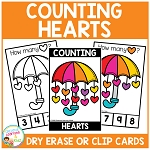 Dry Erase Counting Book/Cards or Clip Cards: Valentine's Day Hearts ~Digital Download~