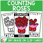 Dry Erase Counting Book/Cards or Clip Cards: Valentine's Day Roses ~Digital Download~