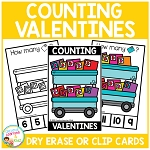 Dry Erase Counting Book/Cards or Clip Cards: Valentine's Day Valentines ~Digital Download~