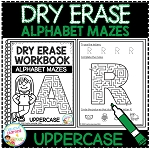 Dry Erase Workbook: Alphabet Mazes Uppercase Letters ~Digital Download~