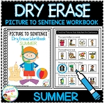 Dry Erase Picture to Sentence Workbook: Summer ~Digital Download~