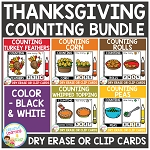 Dry Erase Counting Book/Cards or Clip Cards: Thanksgiving Bundle ~Digital Download~