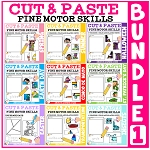Cut and Paste Fine Motor Skills Puzzle Worksheets: Bundle  1 ~Digital Download~
