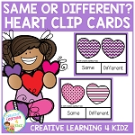 Same or Different Valentine's Day Heart Clip Cards ~Digital Download~